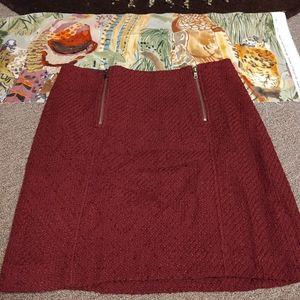 Ann Taylor Loft Petites 4P Wine Tweed Skirt